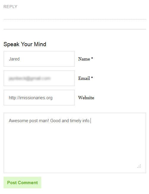 blog comment form picture