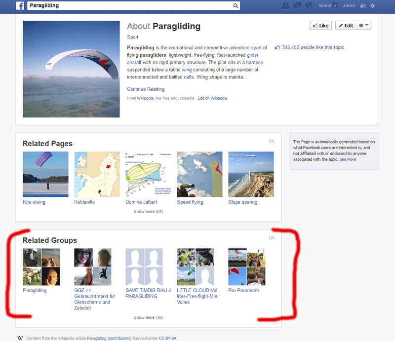 facebook paragliding screenshot